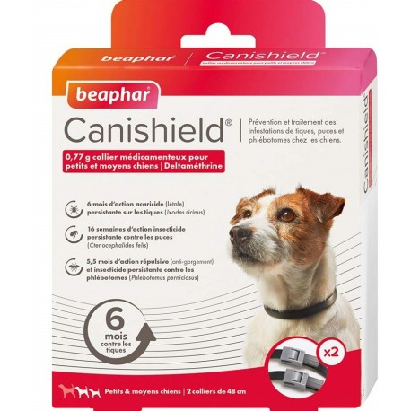 Beaphar Canishield 2 Collari Antiparassitari per Cane Taglia Piccola Media 48 cm
