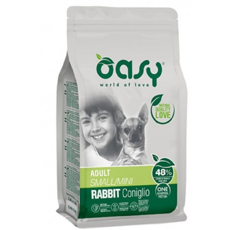 Oasy One Protein Adult Small Mini con Coniglio 800 gr Cibo per Cani