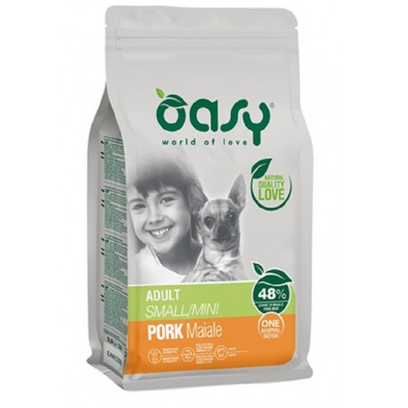 Oasy One Protein Adult Small Mini con Maiale 800 gr Cibo per Cani