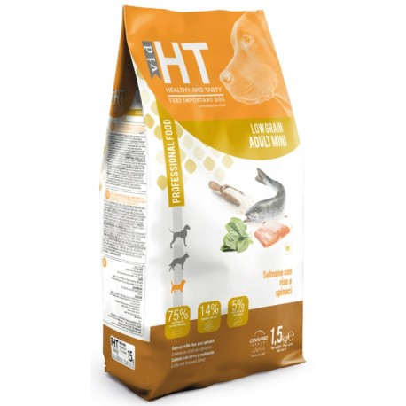 HT VID Low Grain Adult Mini Salmone Riso e Spinaci 1,5 Kg Crocchette per Cane