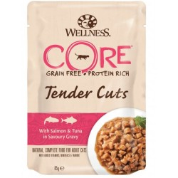 Wellness Core Grain Free Tender Cuts con Salmone e Tonno 85 gr Cibo per Gatto