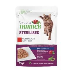 Trainer Natural Cat Sterilised con Manzo Bocconcini per Gatto 85 gr