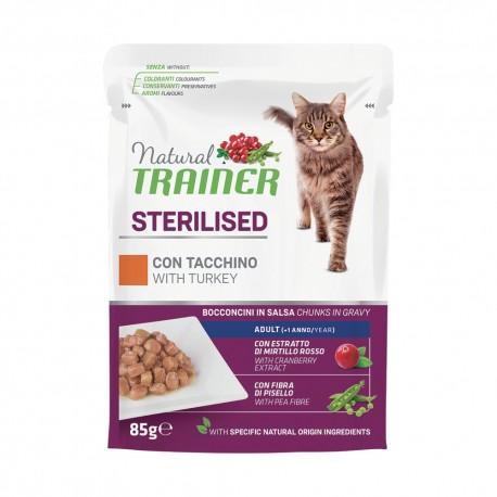 Trainer Natural Cat Sterilised con Tacchino Bocconcini per Gatto 85 gr