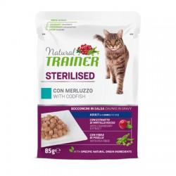 Trainer Natural Cat Sterilised con Merluzzo Bocconcini per Gatto 85 gr