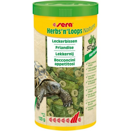 Sera Herbs'n'Loops Nature 1000 ml 120g Leccornie con erbe per tartarughe