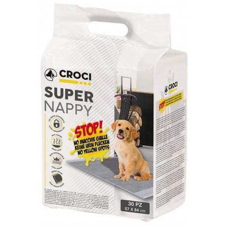 30 Tappetini Assorbenti Super Nappy Activated Carbon 84x57 cm per Cane