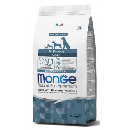 Monge All Breeds Adult Monoprotein Trota 2,5 Kg Crocchette per Cane