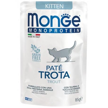 Monge Monoprotein in Busta 85 gr Kitten Patè Trota per Gatto