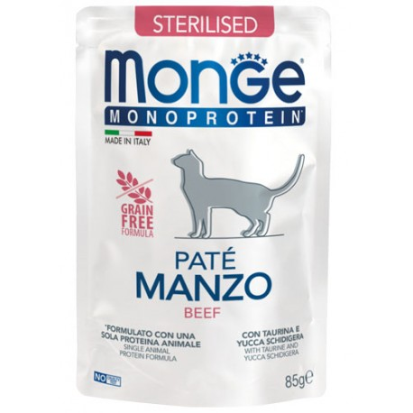 Monge Monoprotein Sterilizzato in Busta 85 gr Patè Manzo per Gatto