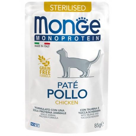 Monge Monoprotein Sterilizzato in Busta 85 gr Patè Pollo per Gatto