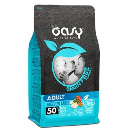 Oasy Grain Free Adult Medium/large al Pesce 2,5 Kg per Cane