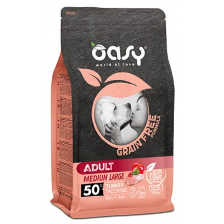 Oasy Grain Free Adult Medium/large Tacchino 2,5 Kg per Cane
