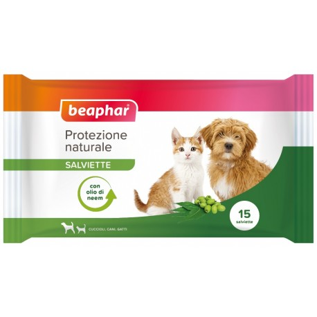 Beaphar Salviette naturali Scudo all'olio di neem per cane e gatto