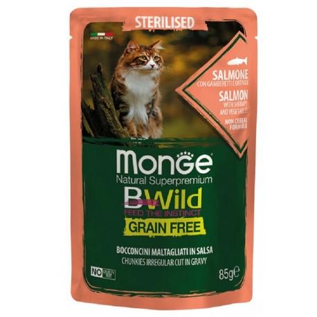 Monge BWild Grain Free Salmone 85 gr Busta di Umido per Gatti Sterilizzati