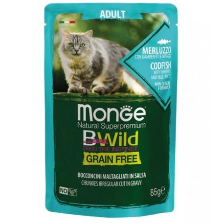 Monge BWild Grain Free Merluzzo 85 gr Busta di Umido per Gatti