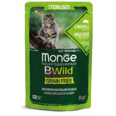 Monge BWild Grain Free Cinghiale 85 gr Busta di Umido per Gatti Sterilizzati