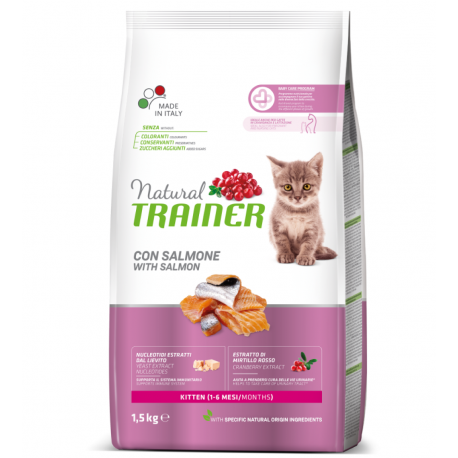 Trainer Natural Kitten con Salmone Kg 1,5 Croccantini per Gatto