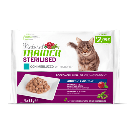 Trainer Natural Umido Gatto Sterilised Con Merluzzo 4x85gr