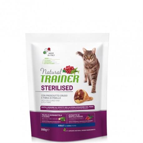 Trainer Natural Adult Sterilised con Prosciutto Crudo gr300 croccantini gatto