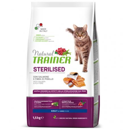 Trainer Natural Adult Sterilised con Salmone Kg1,5 croccantini gatto