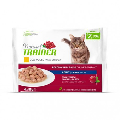 Trainer Natural Umido Gatto Adult Con Pollo Fresco 4x85gr