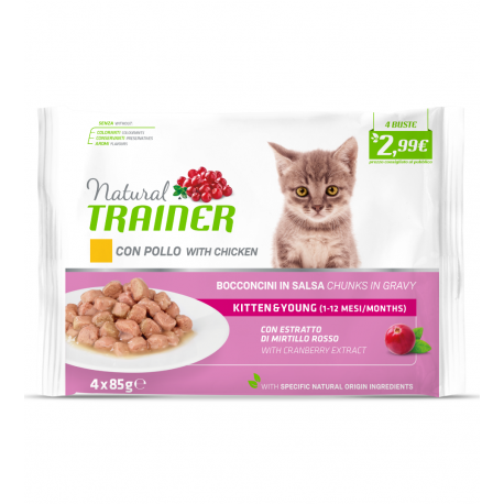 Trainer Natural Umido Gatto Kitten & Young Cat con Pollo 4x85gr