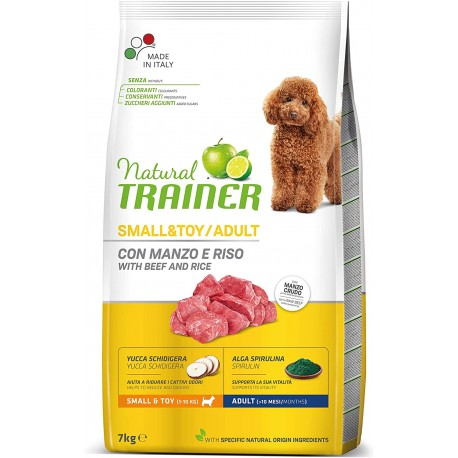 Trainer Natural Adult Small & Toy Manzo, Riso 7 Kg