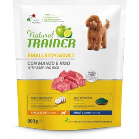 Trainer Natural Adult Small & Toy Manzo, Riso 800 gr
