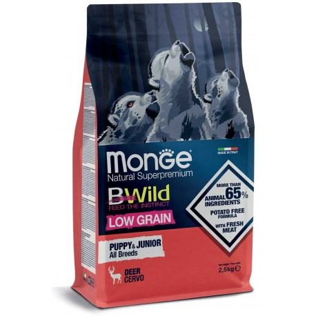 Monge Bwild Low Grain Cervo Puppy & Junior All Breeds 2,5 kg