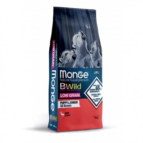Monge Bwild Low Grain Cervo Puppy & Junior All Breeds 12 kg