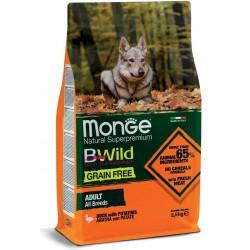 Monge BWild Grain Free All Breeds Anatra con Patate 2,5 Kg per Cane Adulto