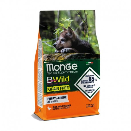 Monge Bwild Grain Free Anatra con Patate Puppy & Junior All Breeds 2,5 Kg
