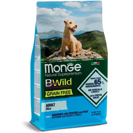 Monge Grain Free Mini Adult con Acciughe,Patate e Piselli 2,5Kg