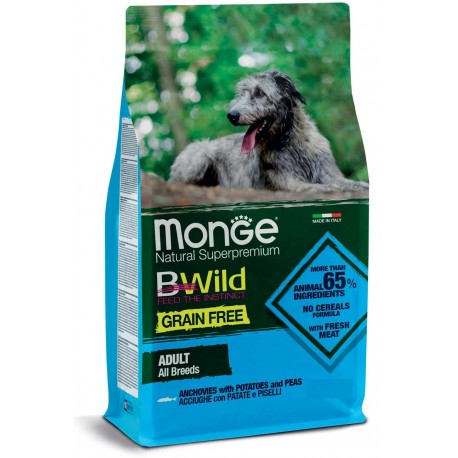 Monge Grain Free All Breeds con Acciughe, Patate e Piselli 12 Kg