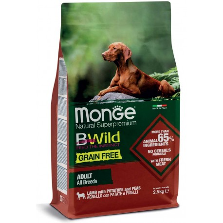 Monge Bwild Grain Free Adult All Breeds Agnello, Patate e Piselli 2,5Kg