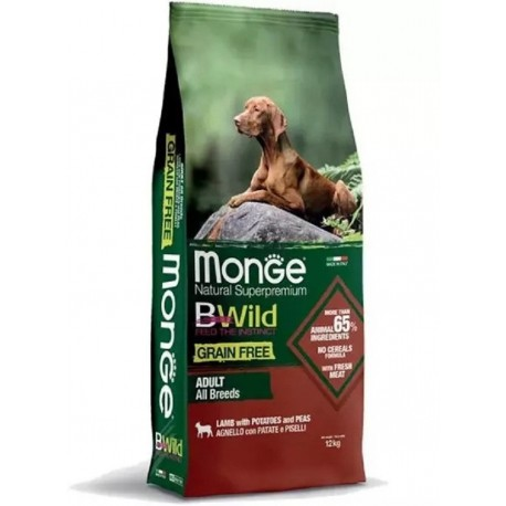 Monge Bwild Grain Free Adult All Breeds Agnello, Patate e Piselli 12Kg
