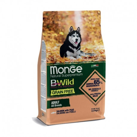 Monge Bwild Grain Free Adult All Breeds Salmone e Piselli 2,5Kg
