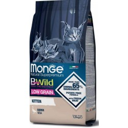 Monge Bwild Gatto Low Grain Kitten Oca 1,5 Kg Croccantini per Gattini
