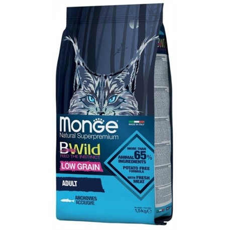 Monge Bwild Gatto Low Grain Adult Acciughe 1,5 Kg Croccantini per Gattini