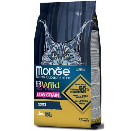 Monge Bwild Gatto Low Grain Adult Lepre 1,5 Kg Croccantini per Gattini