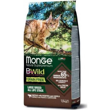 Monge Bwild Gatto Grain Free Large Breed Bufalo 1,5 Kg Croccantini per Gatti