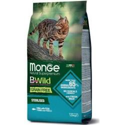 Monge Bwild Gatto Grain Free Sterilised Tonno con Piselli 1,5 Kg Croccantini per Gatti