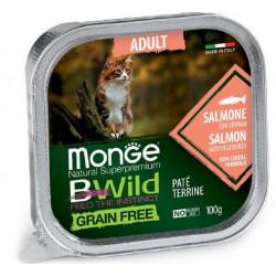 Monge Bwild Grain Free Patè Salmone in Vaschetta 100 gr per Gatto