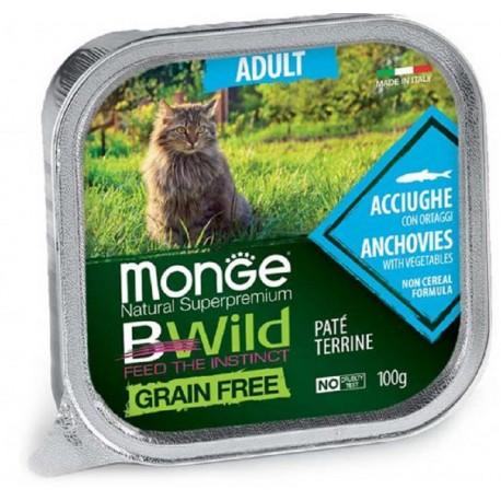 Monge Bwild Grain Free Patè Acciughe in Vaschetta 100 gr per Gatto