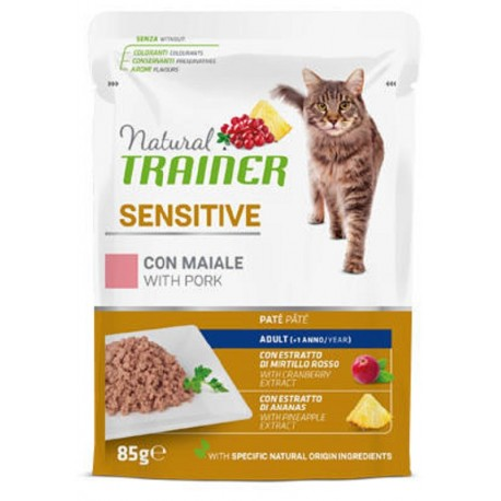 Trainer Natural Cat Sensitive Maiale Bocconcini per Gatto 85 gr