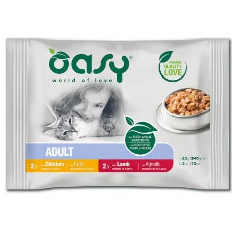 Oasy Multipack Adult Bocconcini al Pollo per Gatto 4x85 gr