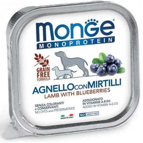 Monge Monoprotein Agnello con Mirtilli Vaschetta 150 gr per Cane