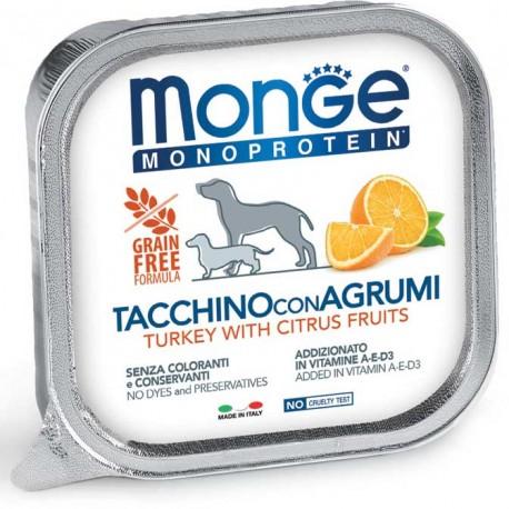 Monge Monoprotein Tacchino con Agrumi Vaschetta 150 gr per Cane