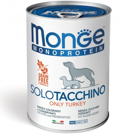 Monge Monoprotein Solo Tacchino Lattina 400 gr per Cane