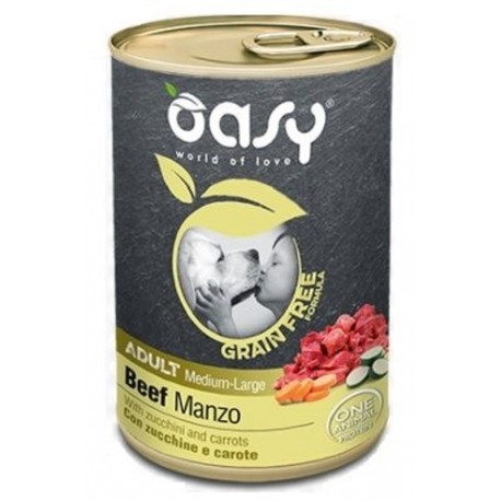 Oasy Grain Free Adult Medium Large Manzo 400 gr per Cane